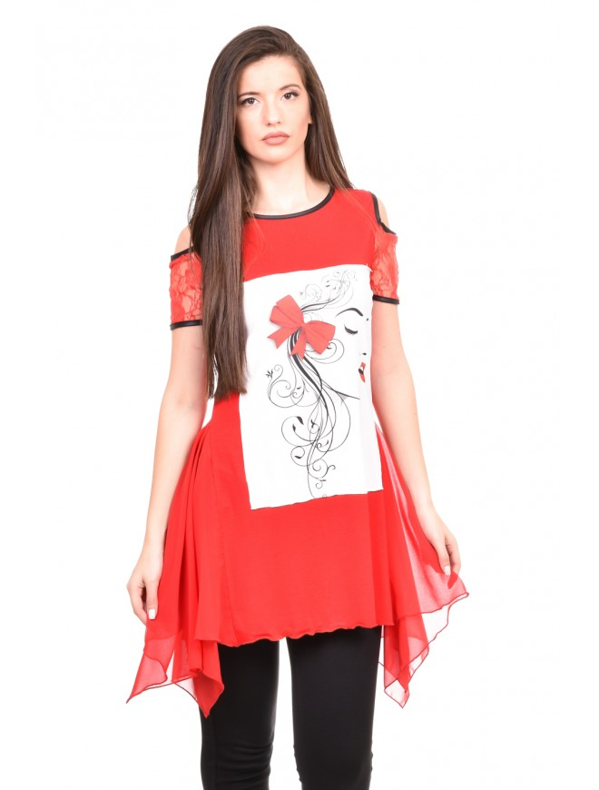 Tunic with print in red Marma