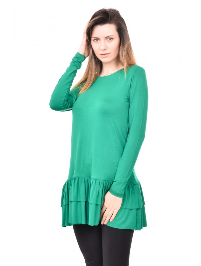 Green tunic with long sleeves Zerina